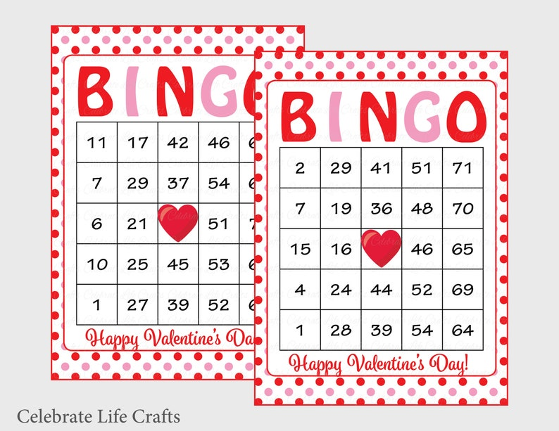 graphic about Printable Valentine Bingo Cards named 60 Valentines Bingo Playing cards - Printable Valentine Bingo Playing cards - Instantaneous Down load - Valentines Working day Recreation - Purple Pink Polka Dots - V1001