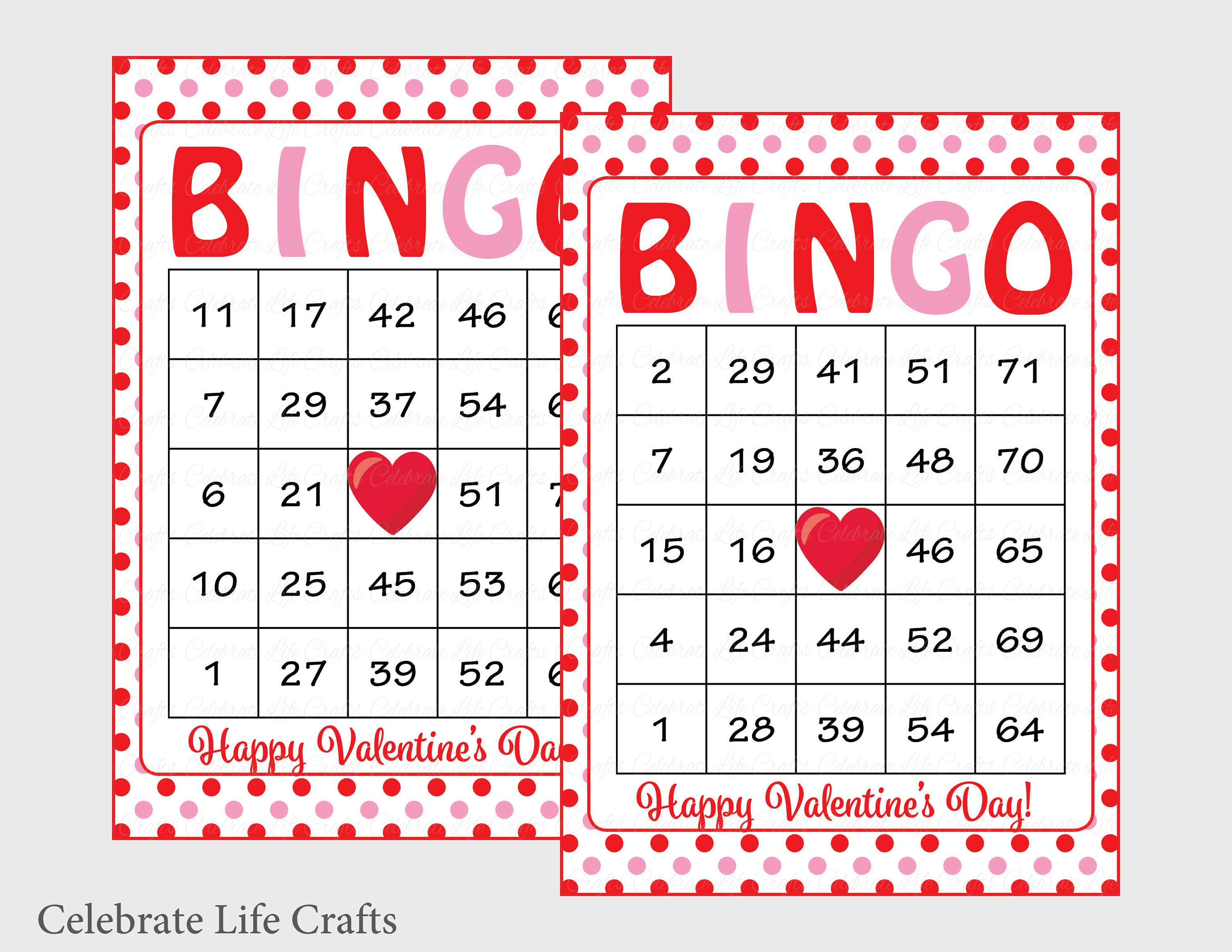 photograph about Valentine Day Bingo Cards Printable identified as 60 Valentines Bingo Playing cards - Printable Valentine Bingo Playing cards - Prompt Down load - Valentines Working day Activity - Purple Pink Polka Dots - V1001