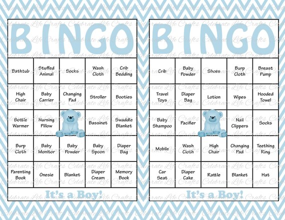 image about Printable Bingo Chips identified as 100 Boy or girl Shower Bingo Playing cards - Printable Celebration Kid Boy