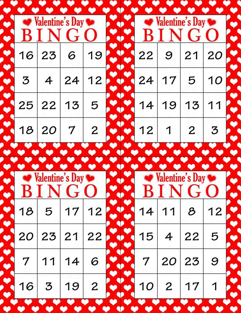 Valentine Bingo Game 60 Printable Valentine S Bingo Etsy