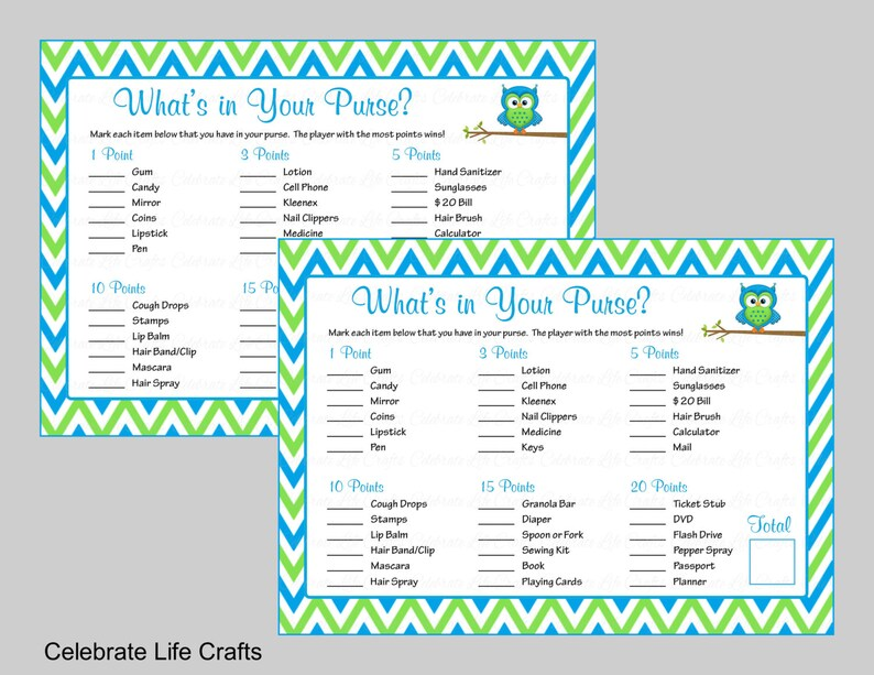 Baby Shower What's in Your Purse Game - Printable Baby Shower Games - Baby  Boy Shower Game - Owl Baby Shower Theme Blue Lime Chevron B2002