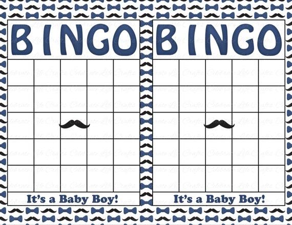 Blank Baby Shower Bingo Cards Mustache Theme Printable Party Boy Instant Download Navy Mustache Bowtie Little Man B018