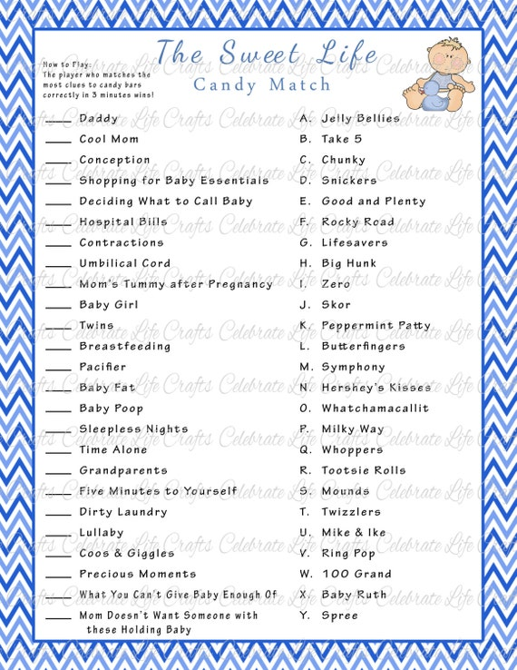photo relating to Candy Bar Game Printable identify Kid Shower Adorable Lifetime Sweet Bar Sport Recreation - Printable Boy or girl Shower Online games - Blue Chevron Little one Boy - Boy or girl Shower Match B006