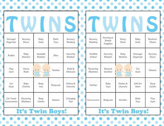 30 Baby Boy Twins Baby Shower Bingo Cards Prefilled Bingo Etsy