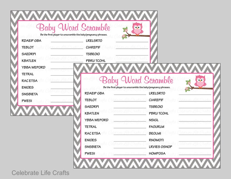 Baby Shower Word Scramble Game Answer Key Printable Etsy
