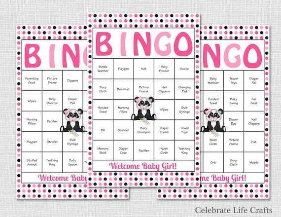 100 Pink Panda Baby Shower Bingo Cards Printable Baby Shower Games