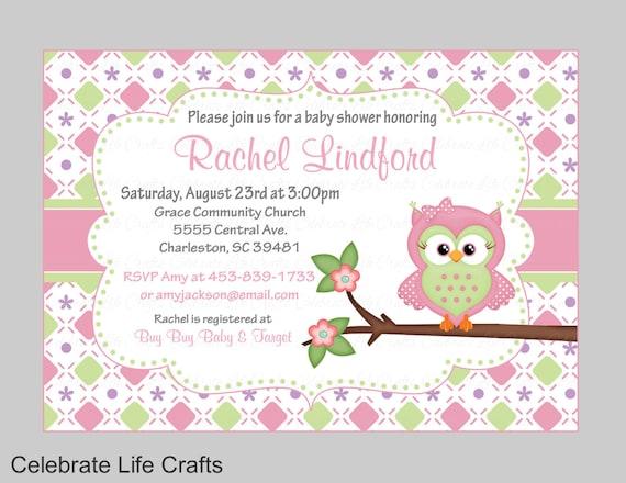 Owl Baby Shower Invitations Printable Baby Girl Shower Etsy