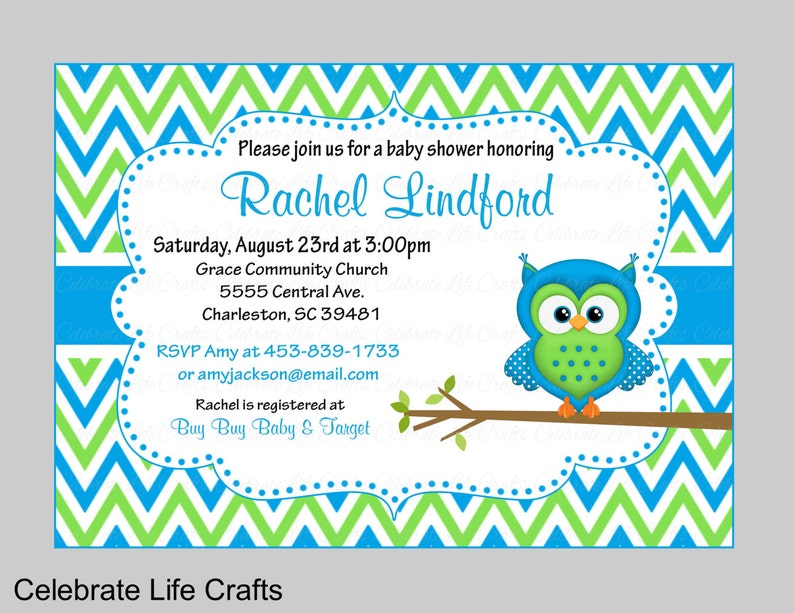 photograph regarding Printable Baby Boy Shower Invitations referred to as Child Shower Invites - Printable Child Boy Shower Invite - Owl Little one Shower Topic - Blue Environmentally friendly Chevrons - JPG or PDF - B2002