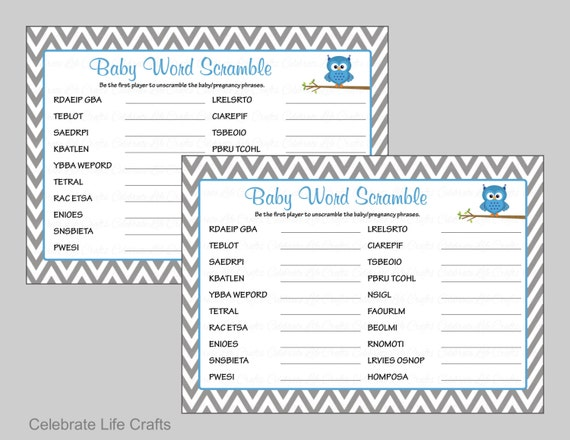 Owl Baby Shower Word Scramble Game With Answer Key Printable Etsy