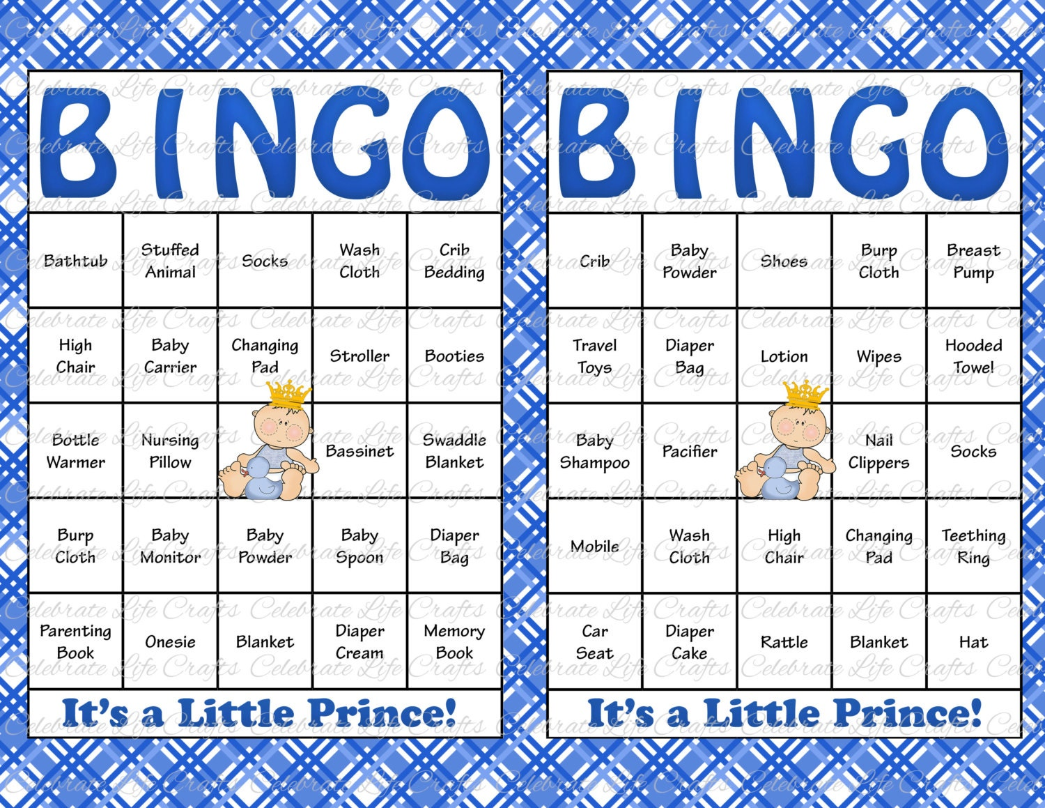 60 Baby Shower Bingo Cards Printable Party Baby Boy Etsy