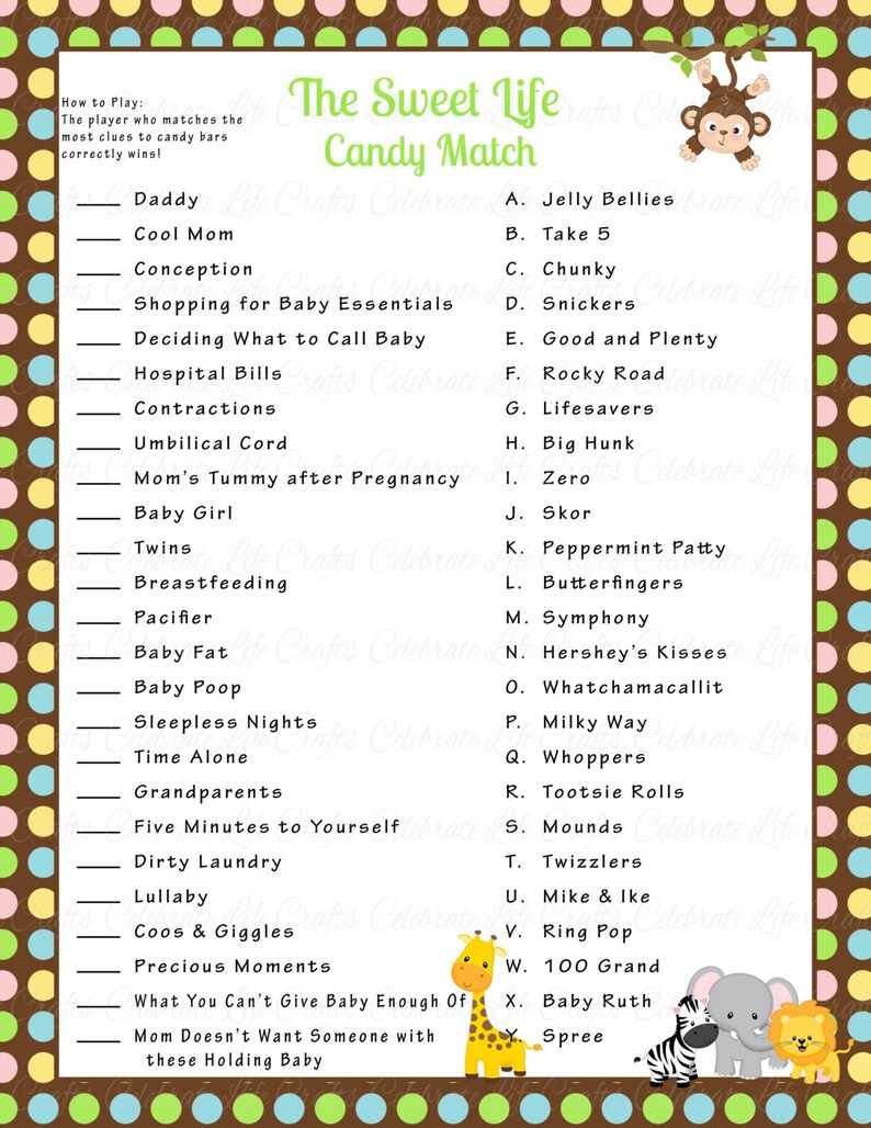 graphic about Candy Bar Game Printable referred to as Safari Kid Shower Adorable Existence Sweet Bar Sport Recreation - Printable Child Shower Game titles - Jungle Safari Little one Boy - Youngster Shower Match N019