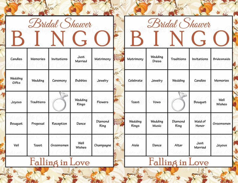 picture relating to Fall Bingo Printable identified as 30 Slipping inside of Get pleasure from Bridal Bingo Playing cards - Tumble Bridal Shower Bingo Video game - prefilled, printable, obtain - Autumn Drop Wedding ceremony Topic WD2002