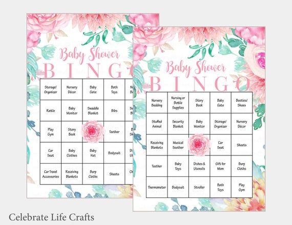 100 Baby Bingo Cards Pink Floral Baby Shower Bingo Game Etsy