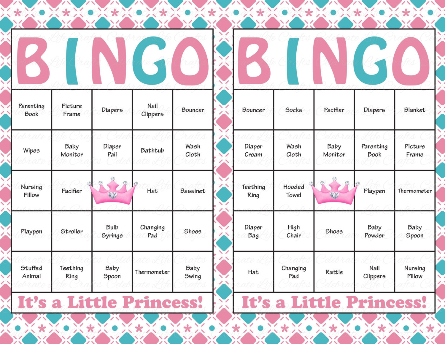 This is a picture of Vibrant Printable Baby Shower Bingo Cards