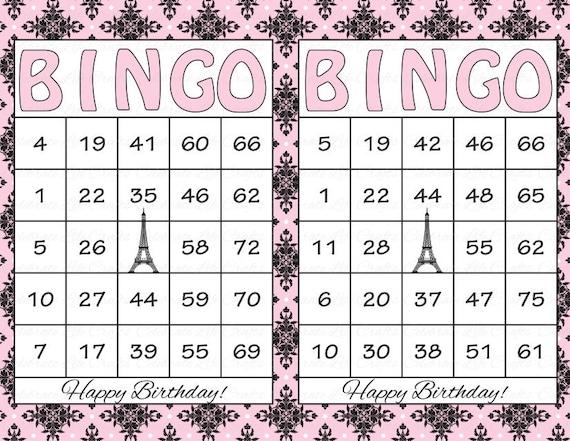 30 Tarjetas De Bingo Para Imprimir De Cumpleanos Descarga Etsy