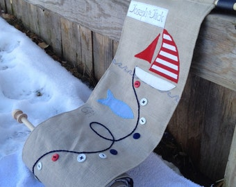 Childs fabric growth chart nautical with sailboat and anchor