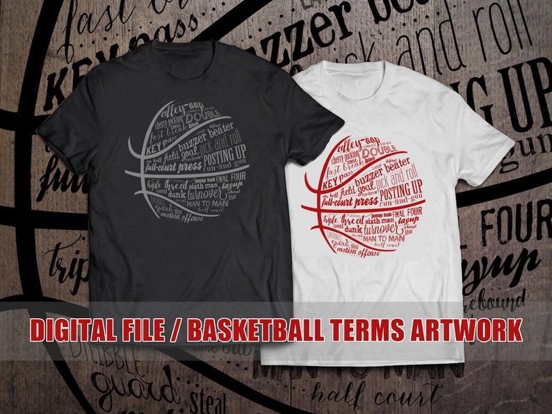 0a16bf78eba0f Basketball Terms - T-shirt design file to print yourself