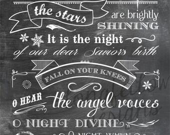 O Holy Night - lyrics - Vertical Print - Typography Art - Christmas - Full Lyrics or Shortened