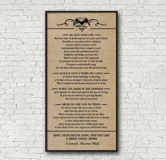 Poem By Tecumseh, American Shawnee Chief. Kraft Look Print   Choose From 2 Looks   Different Colors Upon Request  Frame Not Included by Etsy