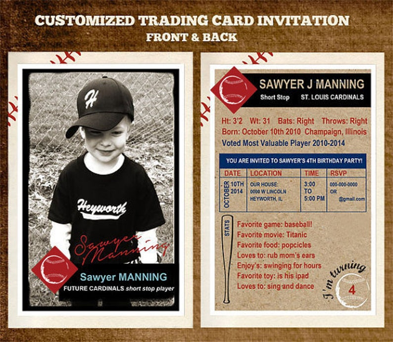 Customizable Team Baseball Trading Card Party Invitation 4 X 6 Or 25 X 35 Digital File Only Front And Back