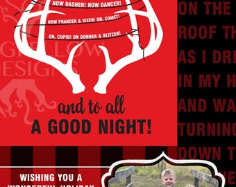 Reindeer - 5 x 7 Photo Christmas Card - Twas The Night Before Christmas