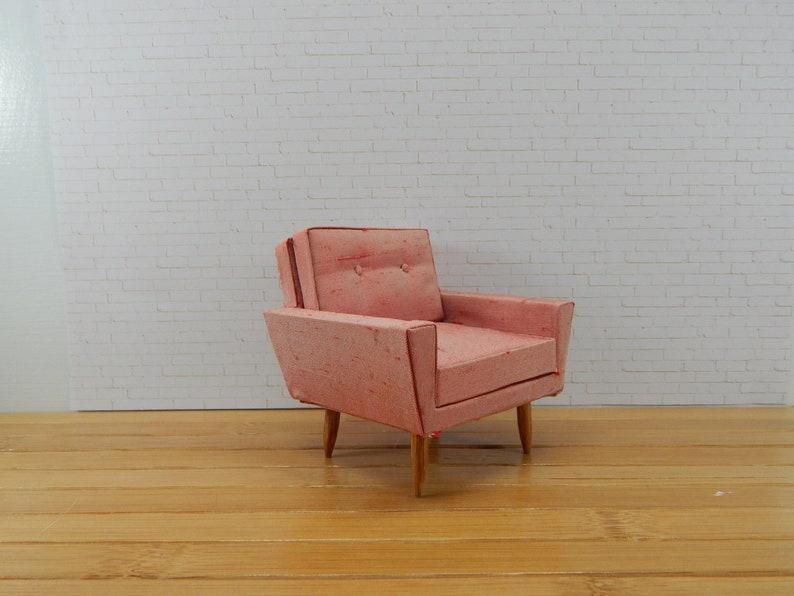 Strange 1 12 Scale Miniature Mid Century Modern Chair In Silk Dailytribune Chair Design For Home Dailytribuneorg