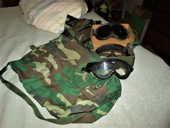 Military camouflage bag ,goggles etc.
