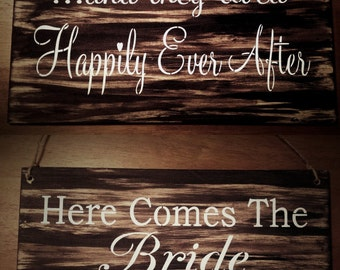 REVERSIBLE SIGN/double sided wedding sign/daddy here comes the bride my mommy/and they lived happily ever after/Rustic wood gift