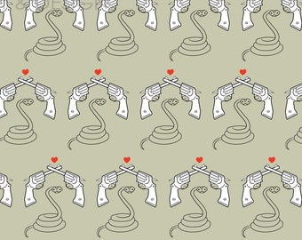 Snakes & Guns Olive - Digital Pattern Repeat on Olive Green, Lizard, Retro, Rockabilly, PinUp, Heart, Print, Illustration, Quirky, Textile