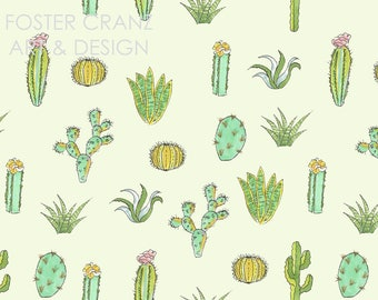 Cactus Pattern - Digital Pattern Repeat on Mint Green, Cactus, Print, Illustration, Quirky, Textile
