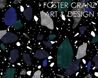 Dark Terrazzo Print - Digital Pattern Repeat on Black, Gray, Navy Blue, Green, Tile, Organic, Print, Illustration, Quirky, Textile