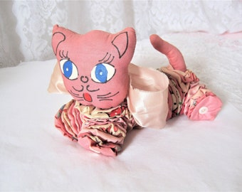 doll diaper washable pink cat made in Quebec Christmas gift girl gift doll diaper cat doll accessories washable Doll diaper