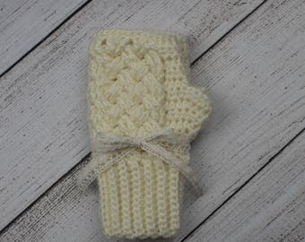 Crocheted Cream Hand Warmers / Fingerless Gloves /Mitts / Fingerless Mittens, Fits Most Teens and Adults, Made Using Alpaca Yarn