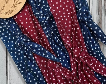 4th of July Vintage Hair Scarf, Head Scarf, Knot Headband, Hair Tie, Bun Scarf, Hair Tie, or Hair Ribbon, Red & Blue with White Stars,