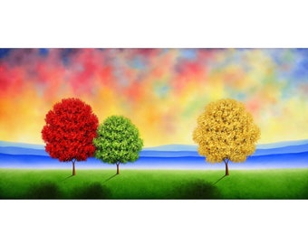 Colorful Landscape, Textured ORIGINAL Oil Painting, Modern Abstract Art, Extra Large Canvas, Expressionist Contemporary Tree Painting, 24x48