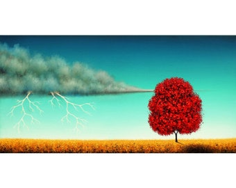 Lightning Strike Storm Painting, Storm Clouds, Dark Landscape, Modern Nature Art, ORIGINAL Oil Painting, Textured Tree Wall Art, 12x24