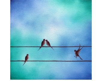 Love Birds Giclee Print, Art Print of Silhouette Bird Painting, Family of Birds on a Wire Art Wall Art, Kissing Birds, Silhouette Art