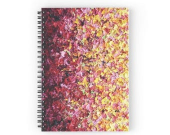 Colorful Spiral Notebook, Pretty Notepad, Abstract Flowers, Office Accessories, Impressionist Art, Lined Daily Planner, Fun Ruled Journal