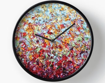 Abstract Art Wall Clock, Wooden Wall Clock, Expressionist Clock, Colorful Home Decor, Housewares, Round Clock, Bedroom Clock, Modern Clock