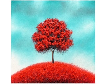 Tree Art Impasto Painting, Modern Canvas Art Landscape Painting, ORIGINAL Oil Painting, Whimsical Red Tree Painting, Textured Art, 8x8