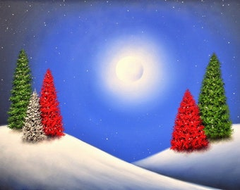 Winter Landscape Print, Christmas Trees in Snow Art Print, Holiday Christmas Gift, Pine Trees, Signed Giclee Print, Moon Snowy Night, 8x10