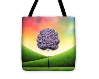 df00fda1c8 Green Tree Tote Bag Rainbow Tree Handbag Colorful Tree Art
