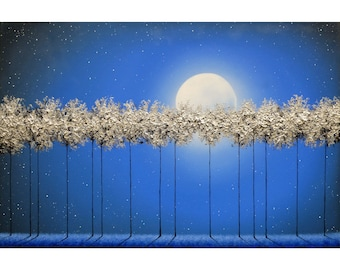 Silver Forest Tree Painting, Textured Wall Art, Contemporary Landscape, ORIGINAL Oil Painting, Moon on Blue Night, Canvas Artwork, 24x36