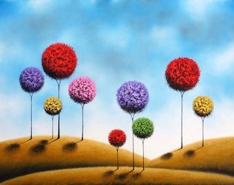 Art Print of Whimsical Landscape, Abstract Art, Lollipop Tree Print, Giclee Print of Geometric Trees, Modern Contemporary Folk Art, 8x10
