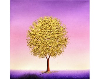 Metallic Gold Tree Painting, Sculpted Impasto Tree Art, ORIGINAL Oil Painting, Fantasy Textured Landscape Painting, Edgy Wall Decor, 10x10