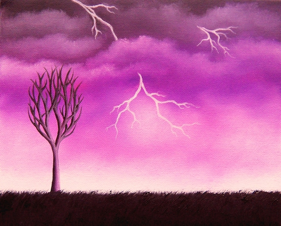 Original collagraph print rain storm thunder handmade print limited edition