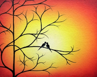 Love Birds on Tree Branch, Love Birds Painting, ORIGINAL Oil Painting, Canvas Art, Valentine's Day Gift, Sunset Birds Whimsical Art, 5x7