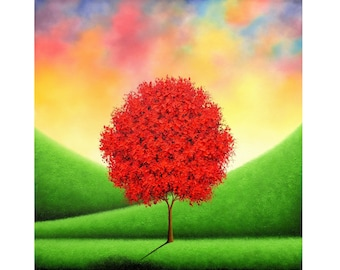 Red Tree Painting, Contemporary Sculpted Impasto Art, Large ORIGINAL Oil Painting, Textured Artwork, Colorful Landscape Painting, 24x24