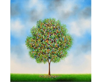 Colorful Contemporary Tree Painting, Textured Wall Art, Large Landscape, ORIGINAL Oil Painting, Sculpted Tree, Ready to Hang Canvas, 24x24