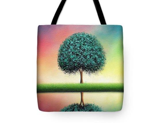 71fe50f0ae Green Tree Tote Bag Rainbow Tree Handbag Colorful Tree Art